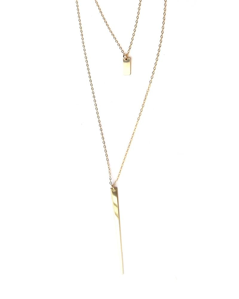 N 14k Delicate Layering Necklace Spike 2a 1