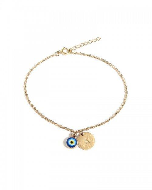Evil Eye & Monogram Charm Bracelet