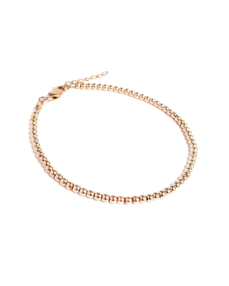 B Mini bead bracelet rose gold 1 1