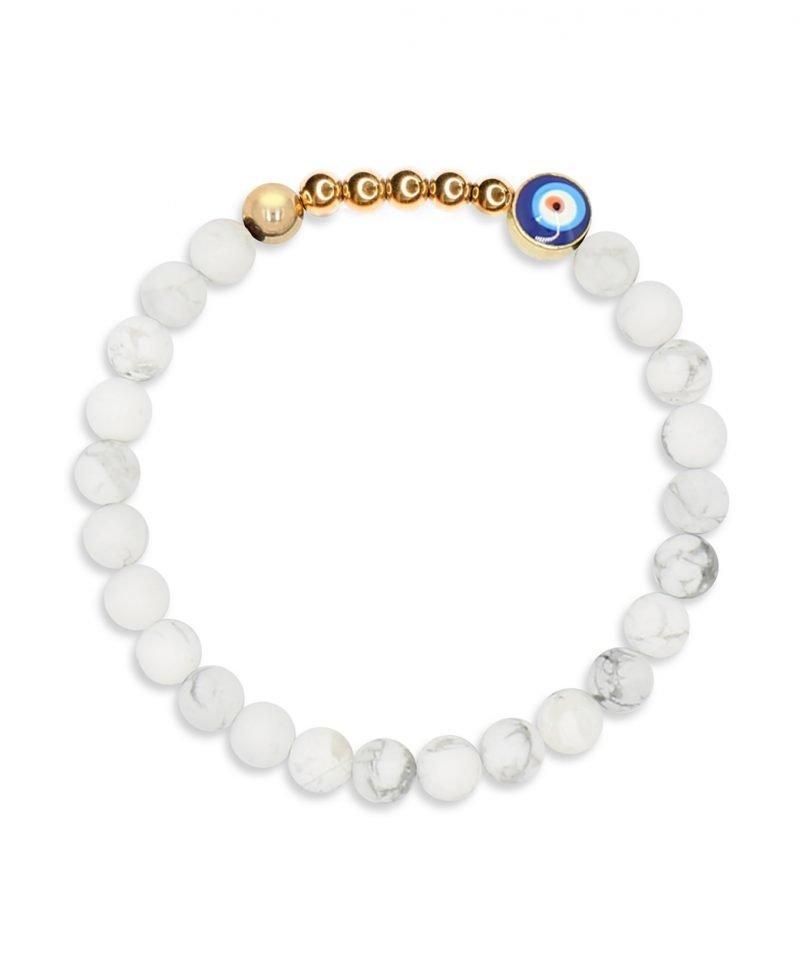 Ojo Bracelet White Howlite 6mm
