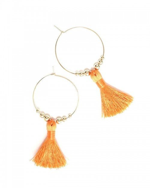 Featherweight Tassel Hoops -Orange