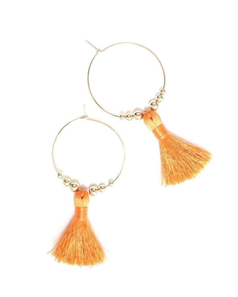 E Featherweight Tassel Hoops Orange 1