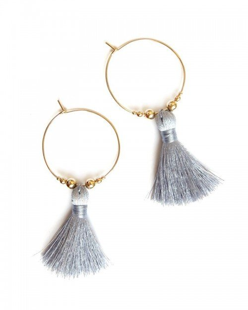 Featherweight Tassel Hoops – Grey Blue