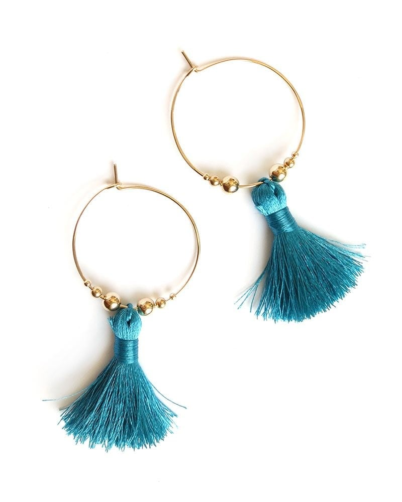 Featherweight Tassel Hoops gold Turquoise 1 1 1