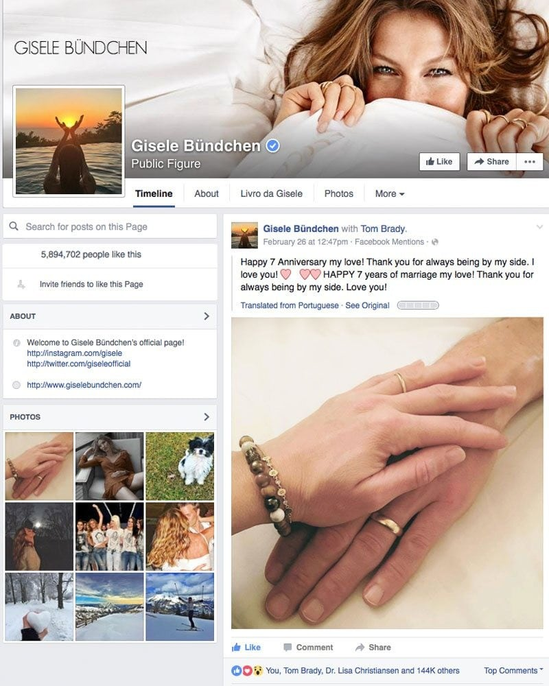Gisele Bundchen Facebook Good Vibes Bracelet