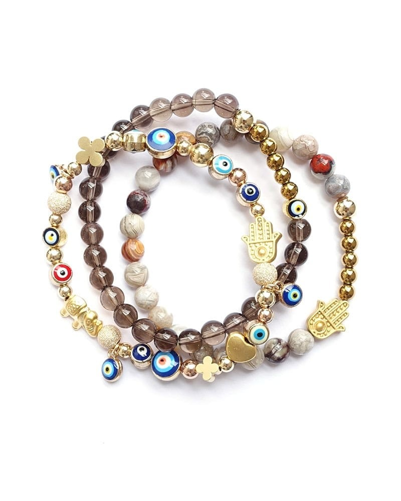 B Arm Party 2017 Smoky Quartz Gilded Good Luck Crazy Lace Hamsa Bracelets 1 min