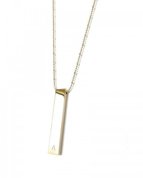 Monogram Slab & Sparkle Chain Necklace