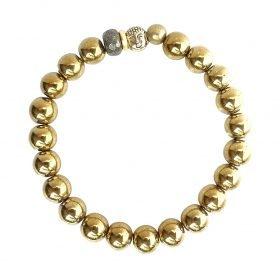 B Gold Rush Buddha Bracelet 8mm