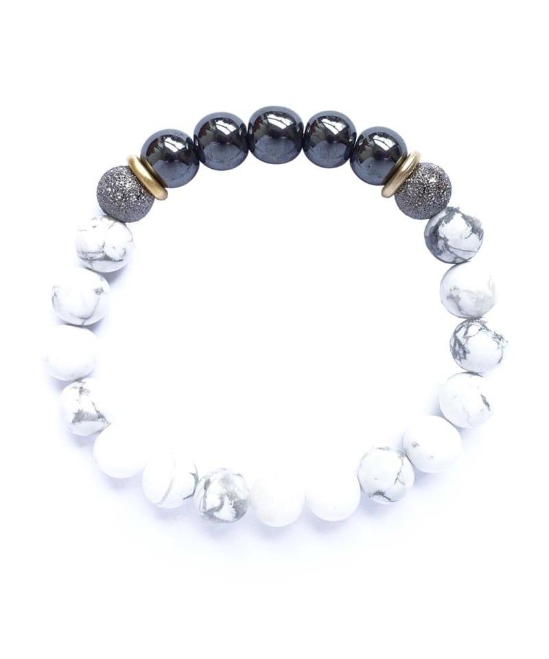 B Arm Party Yin Yang Bracelet White Howlite 1 2