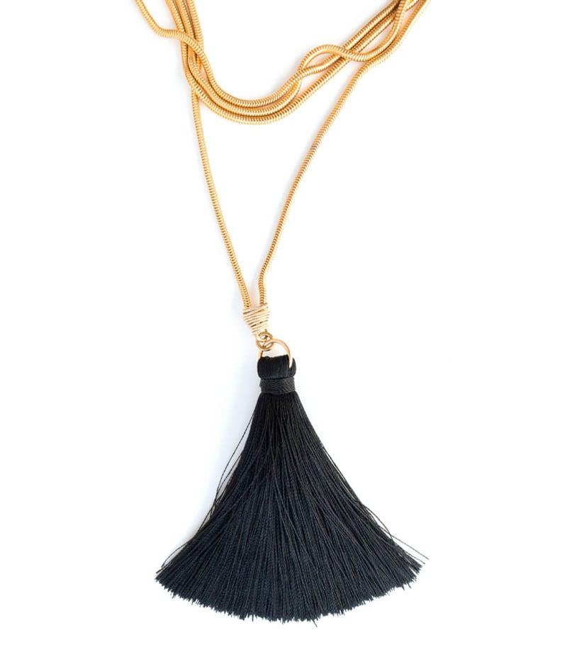 N Fifi Tassel Necklace Black 1 2