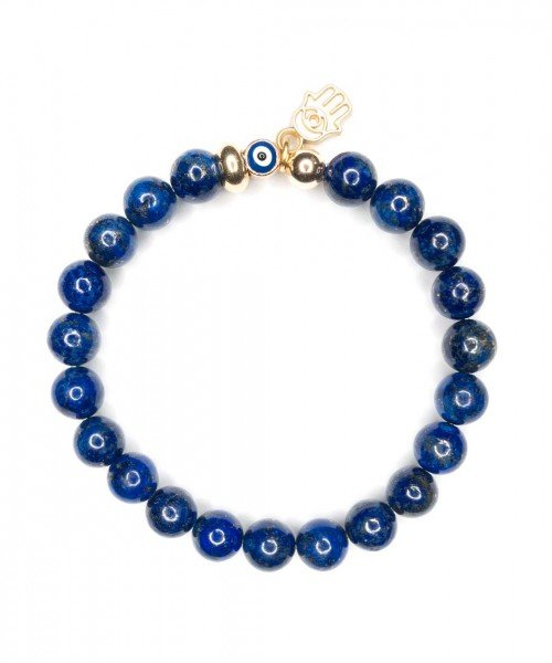 Lapis Lazuli and Hamsa Bracelet 8mm