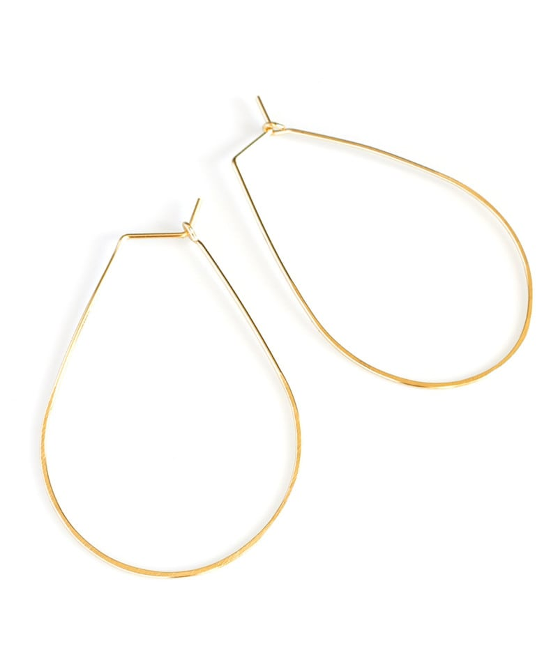 E Featherweight Pear Hoops Gold 1 1 1