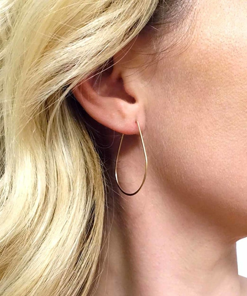 E Featherweight Pear Hoops Small Gold 2 2