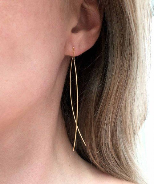 Fine Line Threader Earrings ROSE