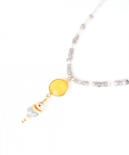 Mona Lariat – Yellow Chalcedony & Clear Quartz