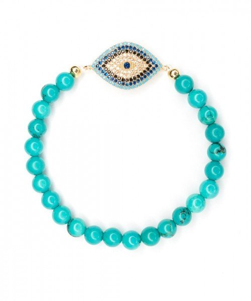 Nova Bracelet – 6mm Teal & Evil Eye