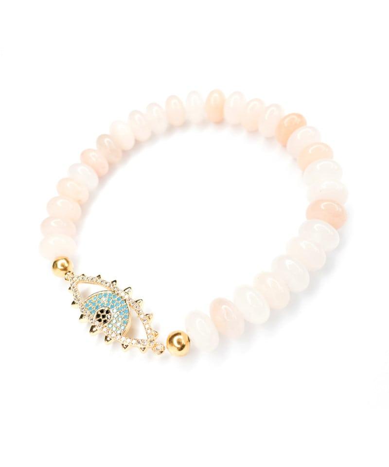 B Nova Bracelet Pink Aventurine Sky Blue Gold Evil Eye 1