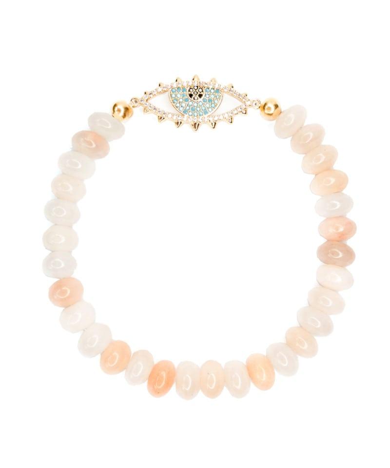 B Nova Bracelet Pink Aventurine Sky Blue Gold Evil Eye 3