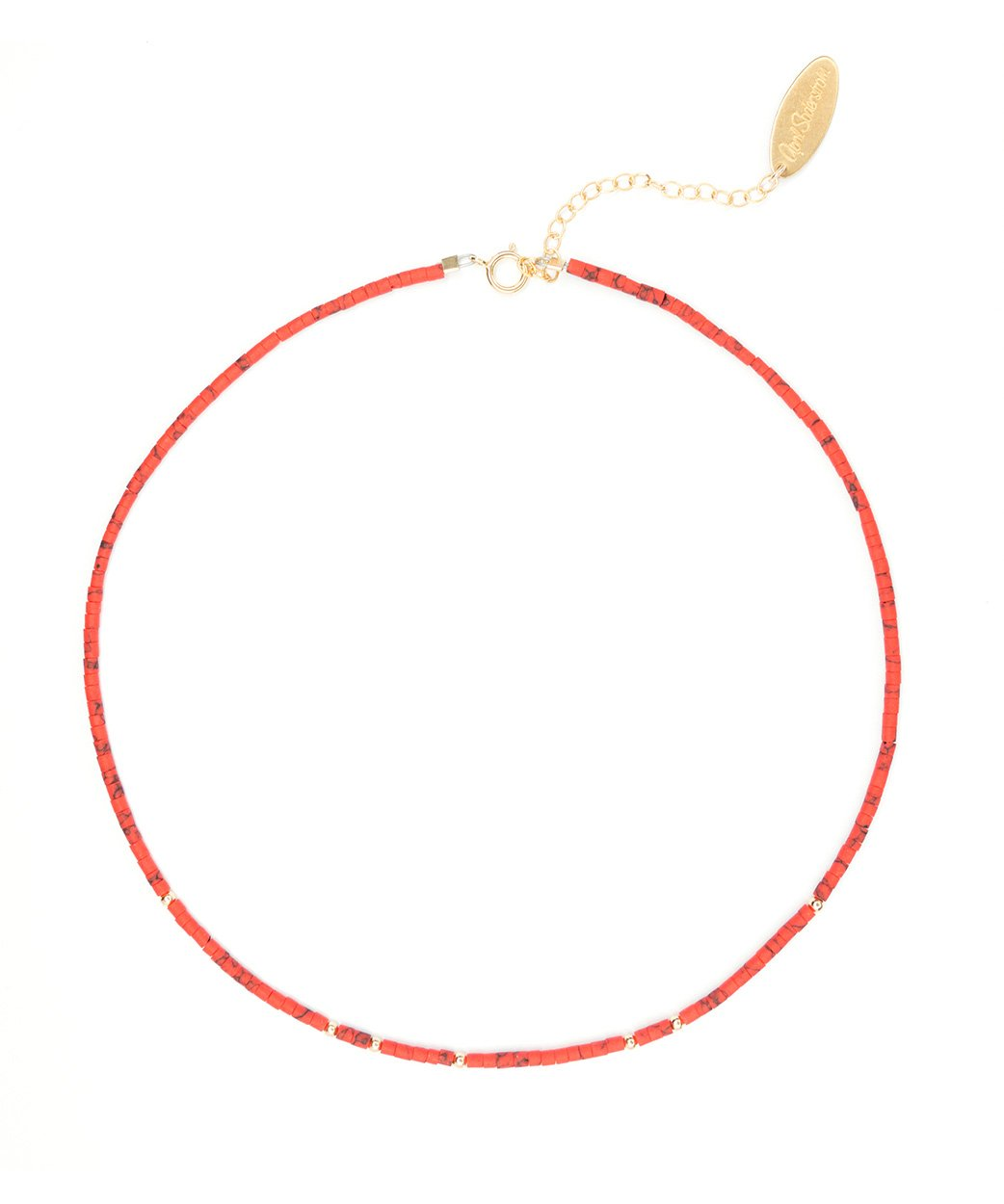 N Halona Choker Necklace Red Coral 1