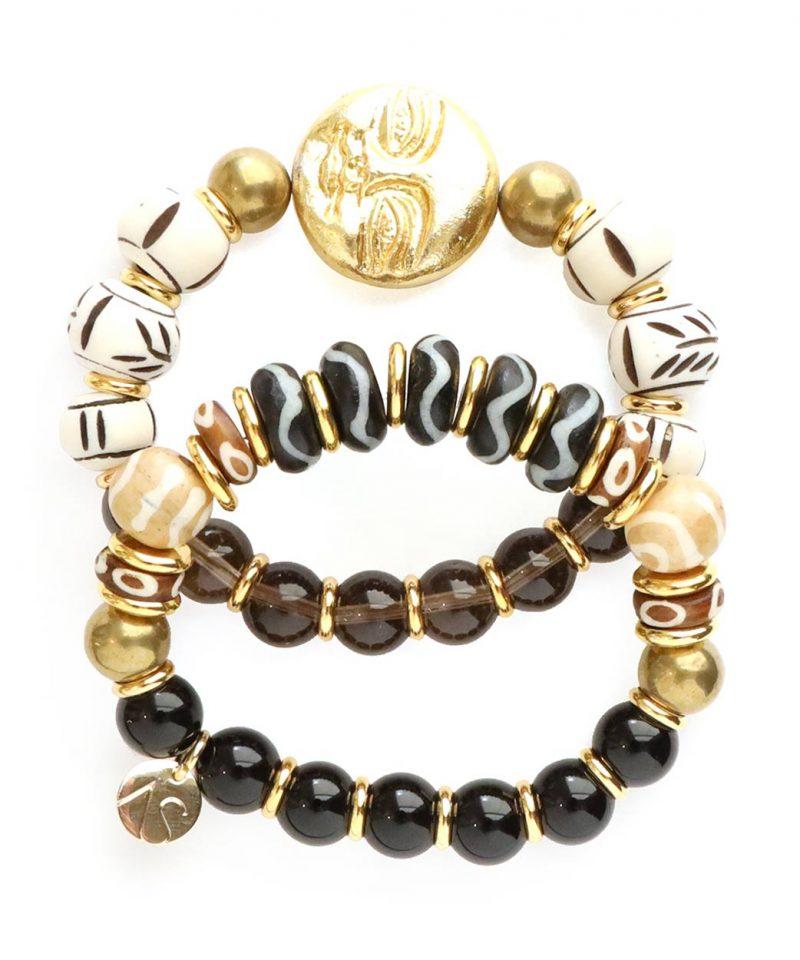 Zulu Bracelet – Black Agate & Bone