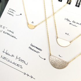 N Half Moon Necklaces Small Medium Large Sizes
