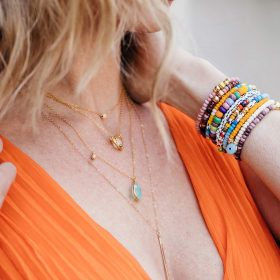 B Color Crush Milly Citrine Zoey and Long Bar Necklace Model