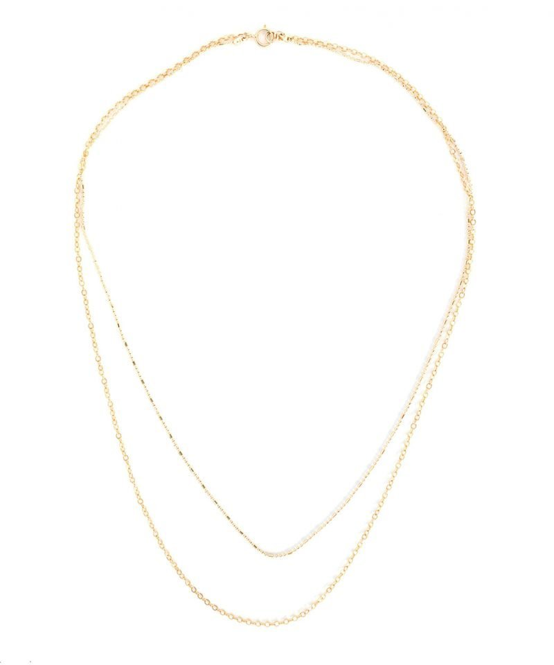 N Josie Layering Necklace Duo Gold Oval Link Sparkle Ball Chain 1
