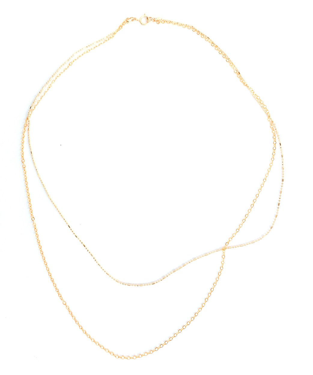 N Josie Layering Necklace Duo Gold Oval Link Sparkle Ball Chain 2
