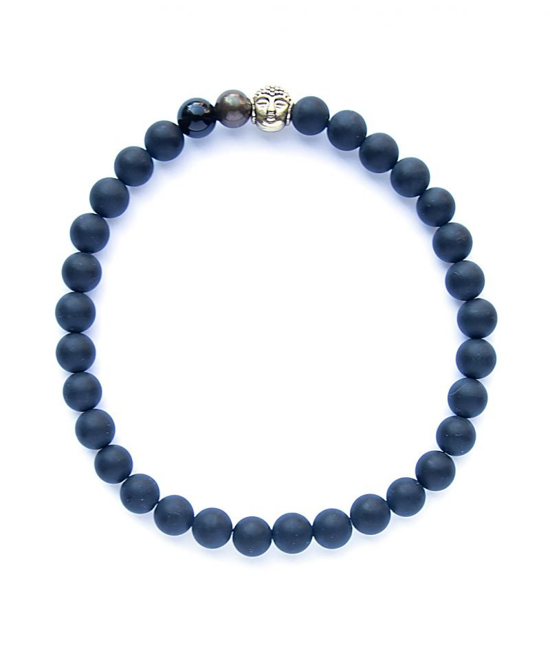 MEN'S – 6mm Del Bracelet – Matte Black Agate & Buddha