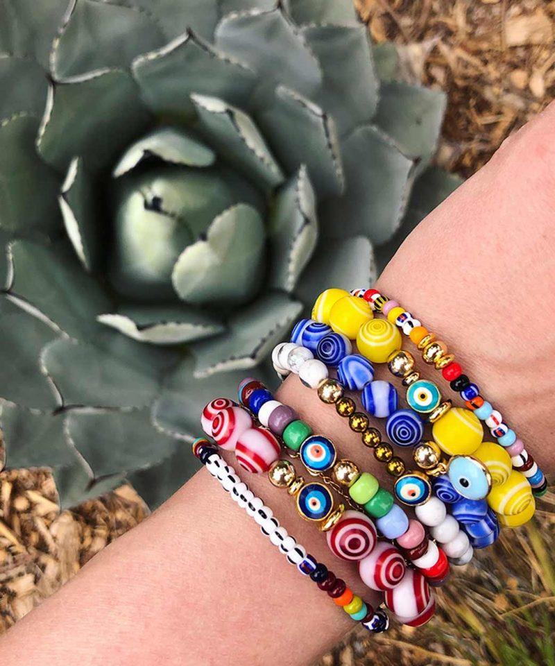 Irie Bracelet – Yellow 10mm & Turquoise Evil Eye