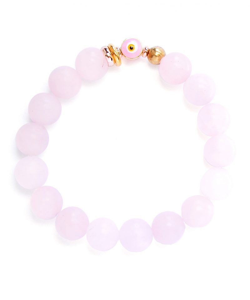 Pink Rose Quartz & Evil Eye Bracelet 10mm