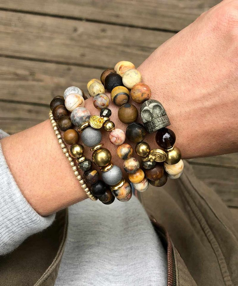 Frosted Tiger Eye & Pyrite Bracelet – 8mm