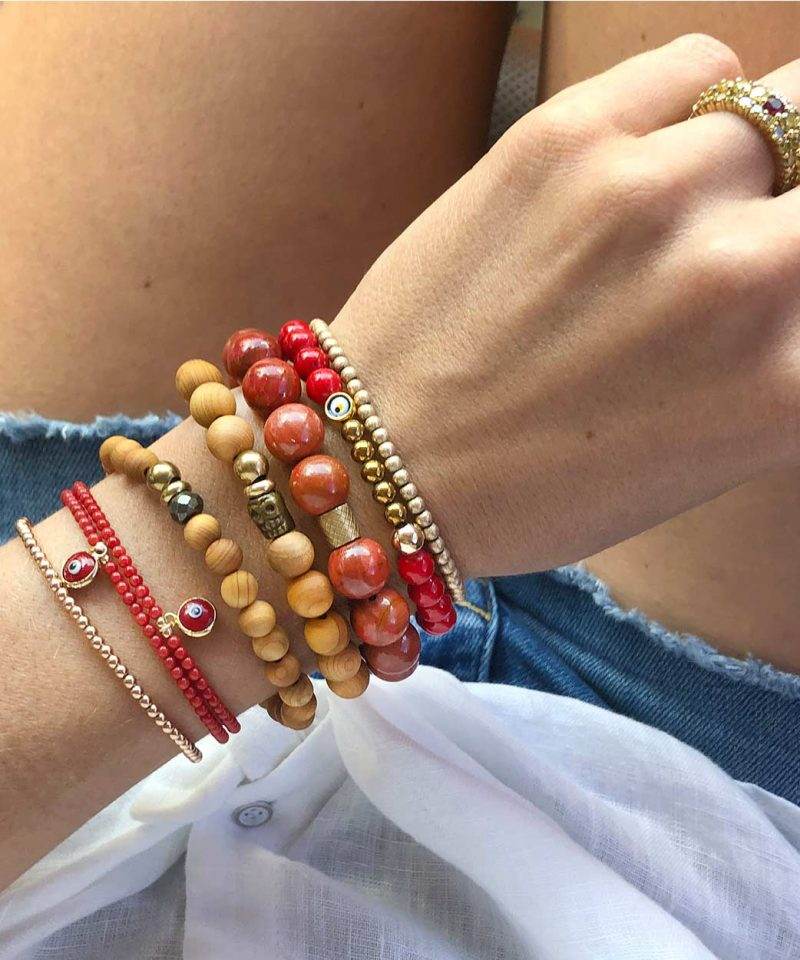 2019 Fall Arm Party Stack Ojo Red Jade Gemma coral Red Jasper Wood Skele Duo