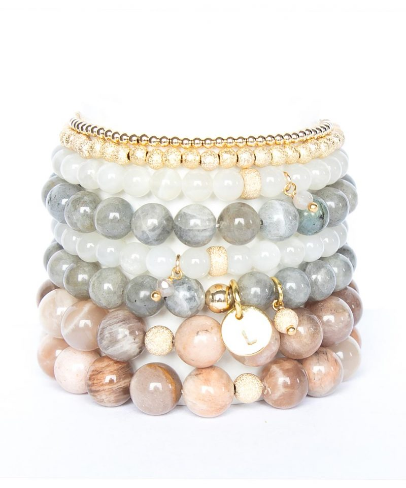 2019 Fall Arm Party Stack Stardust Moonstone Labradorite Sunstone Mini Bead Monogram 2