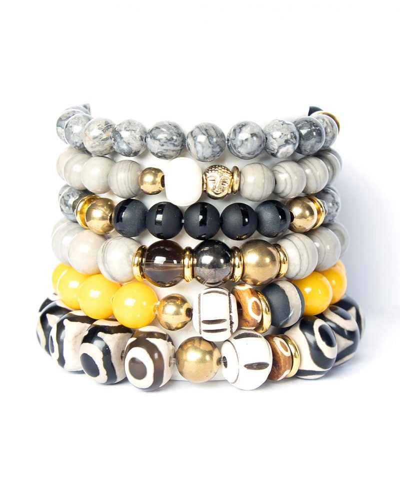 2019 Fall Arm Party Stack Zulu Mandarin and Evil Eye Gray Line Jasper Silver leaf Jasper Buddha Black Zi 1