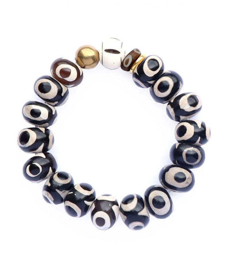 Zulu Bracelet – Tibetan Evil Eye & Bone 14mm