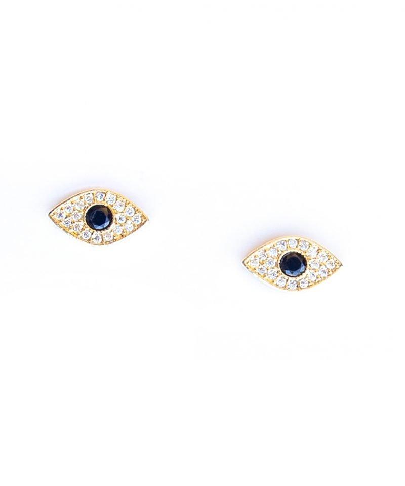 E Evil Eye Black and Diamond CZ Studs 2