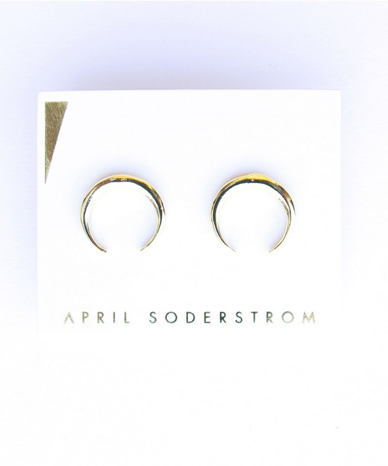 E Horn Studs Large Gold 2