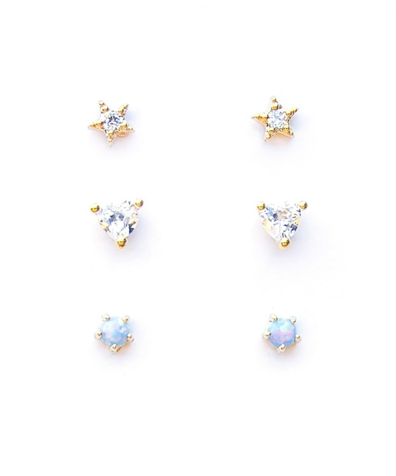 Love Stud Earring Trio