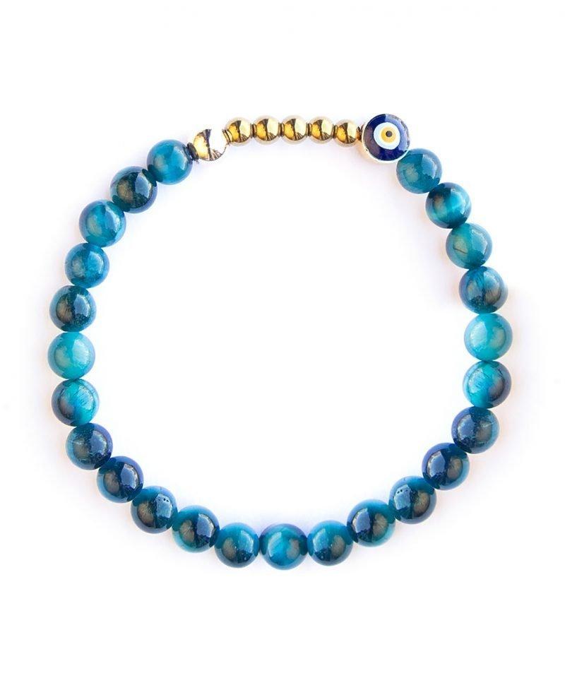 Ojo Bracelet – Sapphire Tiger Eye 6mm