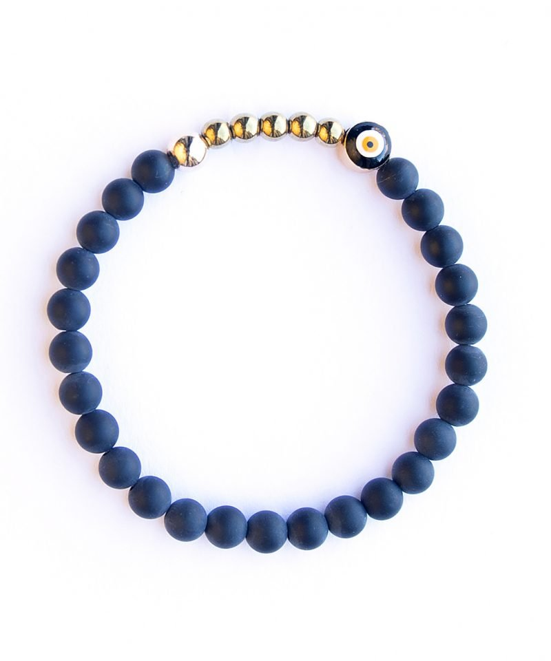 Ojo Bracelet – Frosted Black Agate 6mm