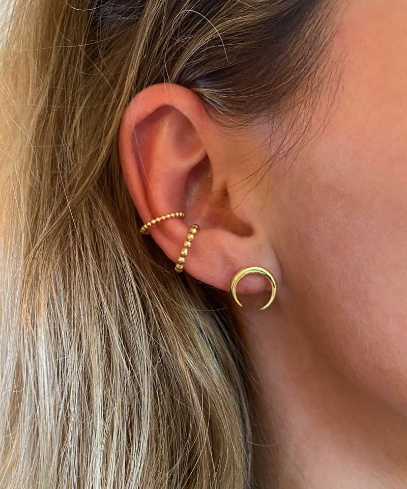 Featherweight Beaded Ear Cuff – Gold Small