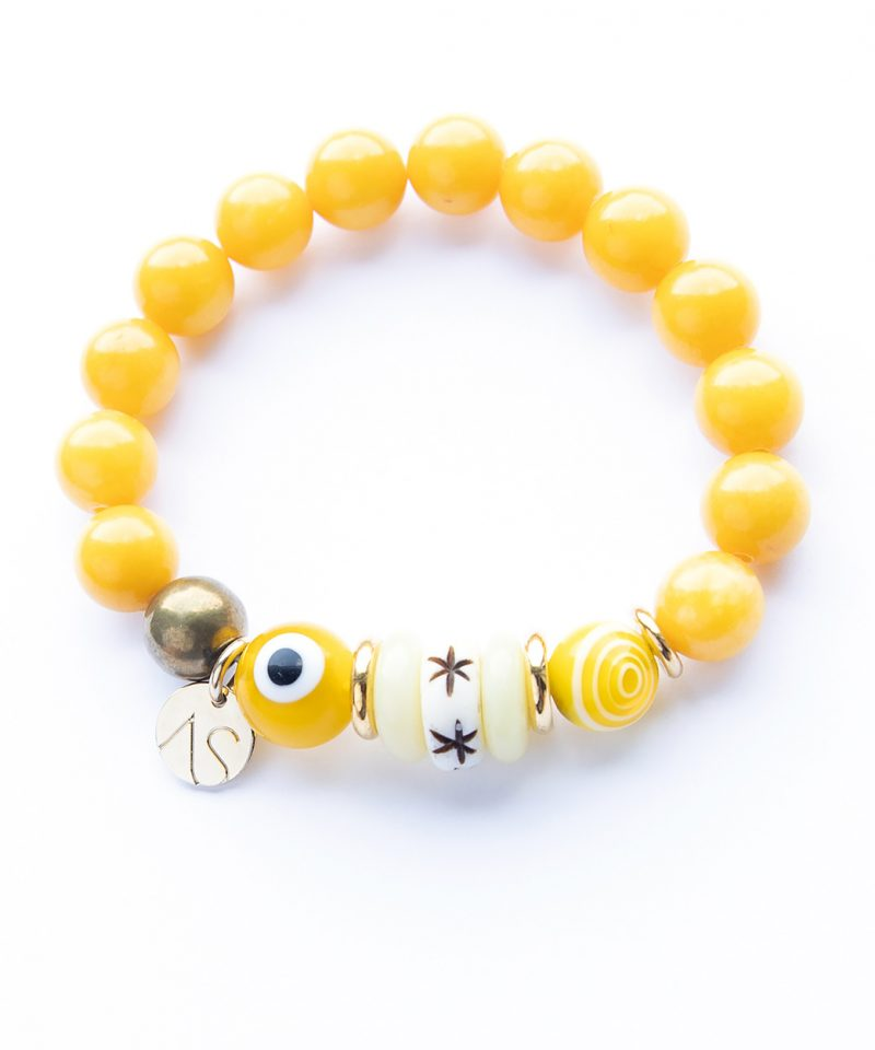 Zulu Honey & Evil Eye Bracelet 10mm