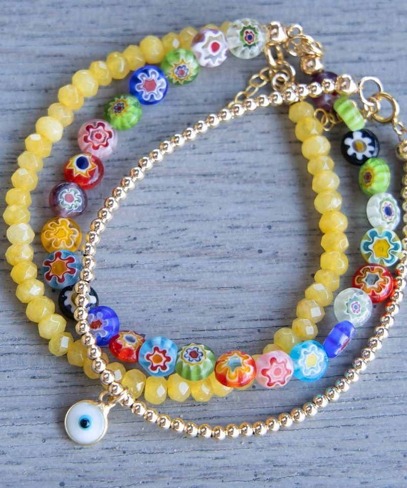 Mini Bead Bracelet & Evil Eye – 14k Gold Fill