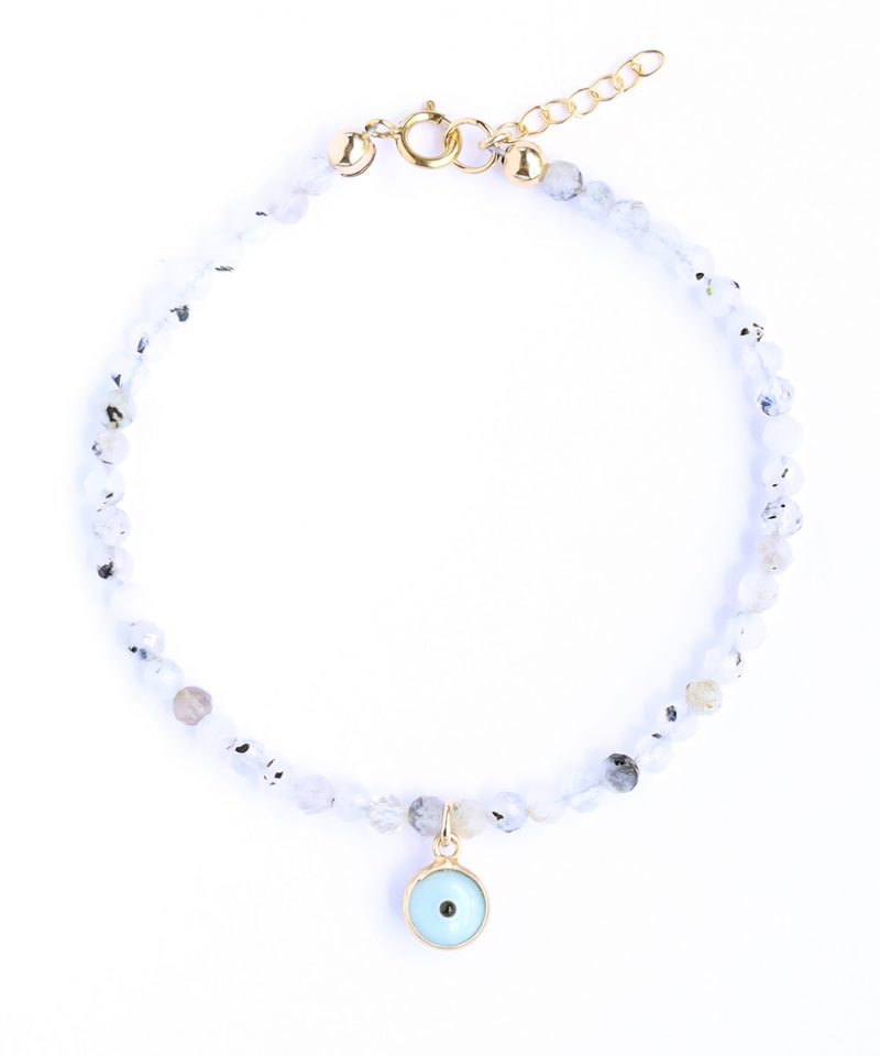 Gemma Bracelet – Moonstone & Light Blue Evil Eye