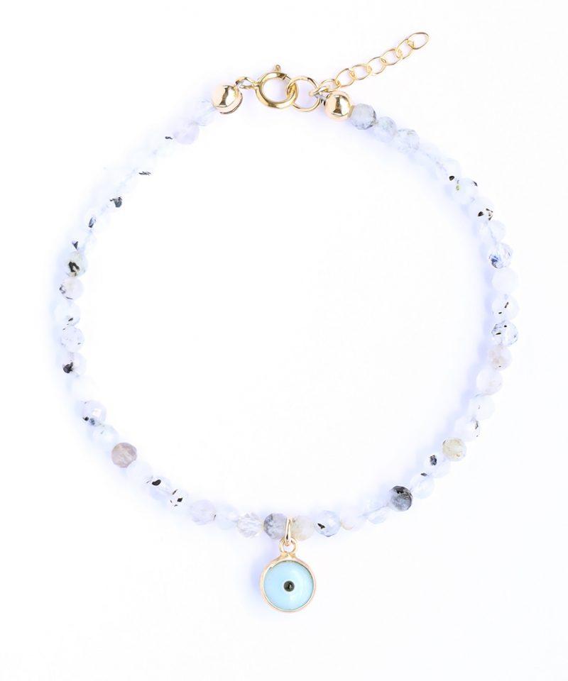 Gemma Bracelet – Moonstone & Light Blue Evil Eye