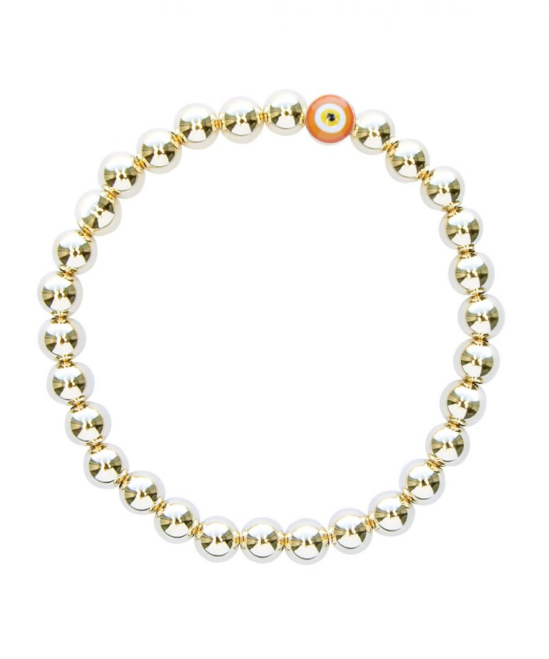 Gilded Evil Eye Bracelet – Orange & 14k Gold Fill