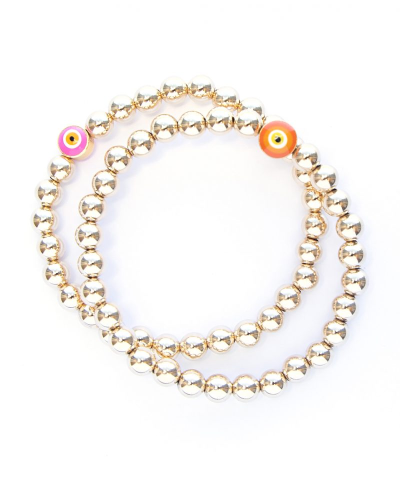 Gilded Evil Eye Bracelet – Pink & 14k Gold Fill