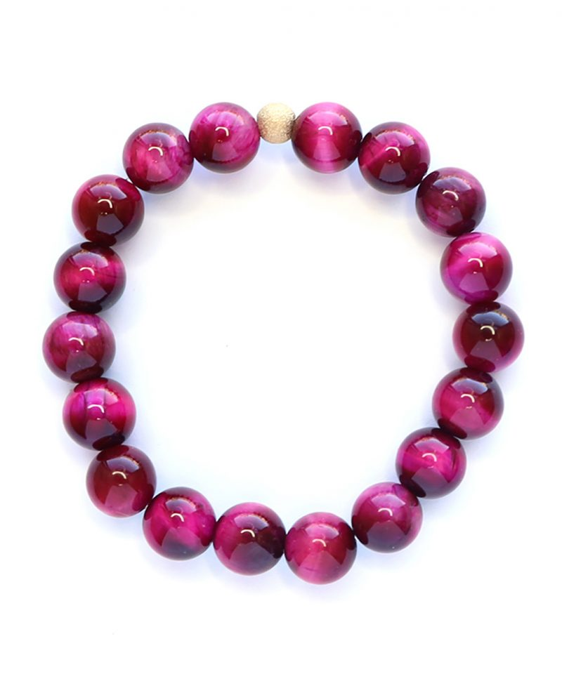 Stardust Hot Pink Tiger Eye Bracelet – 10mm