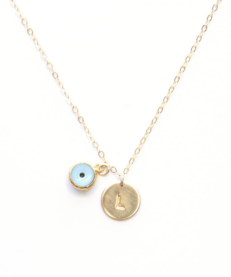 Monogram Evil Eye Necklace – Baby Blue